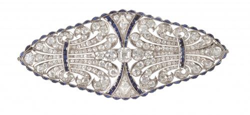 Gran broche placa Art-Decó de brillantes y zafiros con deli