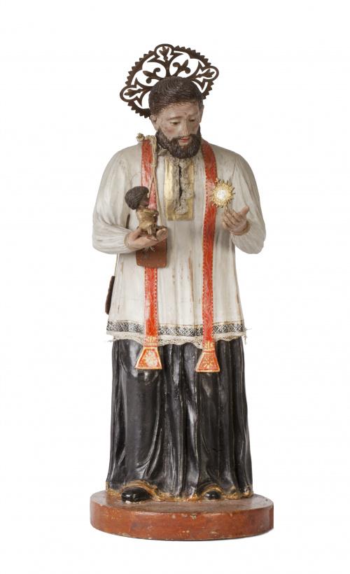 San Cayetano.Escultura en terracota tallada y policromada