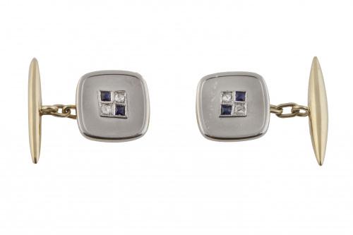 Gemelos cuadrados Art-Decó con centro de diamantes y zafiro