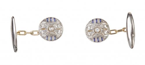 Gemelos circulares Art-Decó con decoración calada, brillant