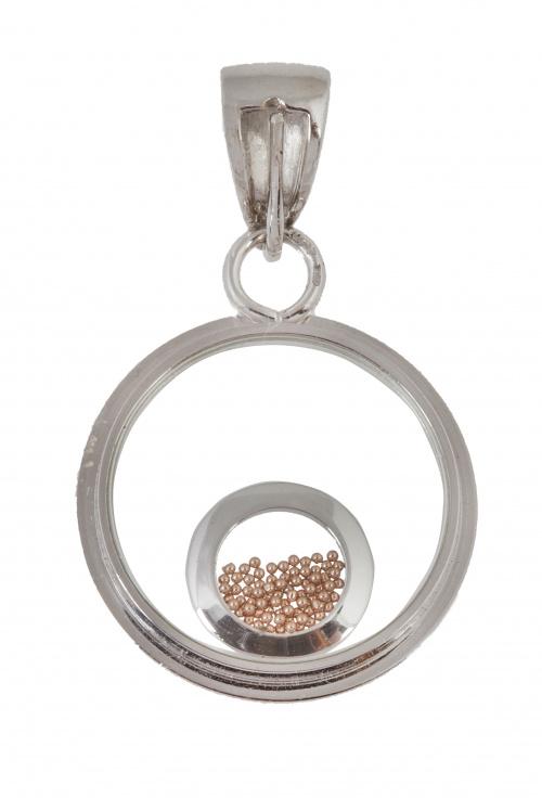 Colgante circular con cristales y circulo cuajado de bolit