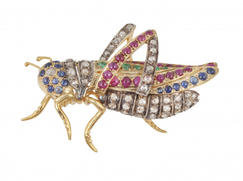 Broche con diseño de saltamontes realizado con diamantes de