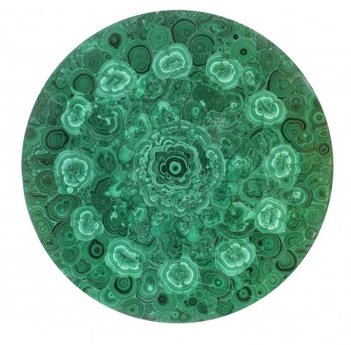 Mesa circular de estilo Imperio con tapa chapeada de malaqu