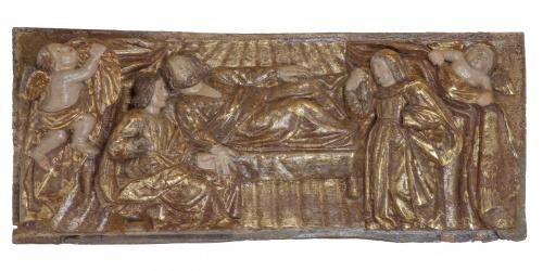"""""""Resurrección de Cristo""""Tabla de madera tallada y dorada."""