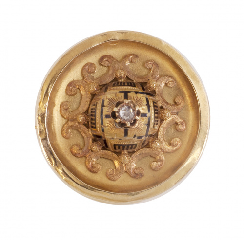 Broche colgante circular S. XIX con diamante central y deco
