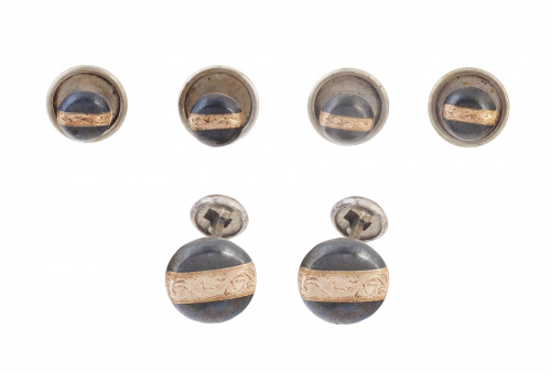 Botonadura de smoking con piezas circulares en plata oxidad