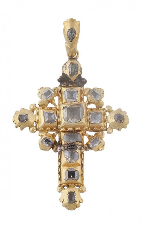 Cruz colgante S. XVIII de diamantes tabla y oro