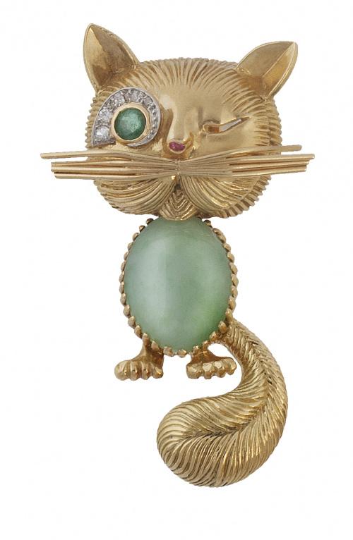 Broche años 50 con diseño de gato siguiendo modelos de Van
