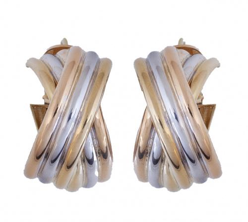 Pendientes criollas anchas con bandas cruzadas de tres gall