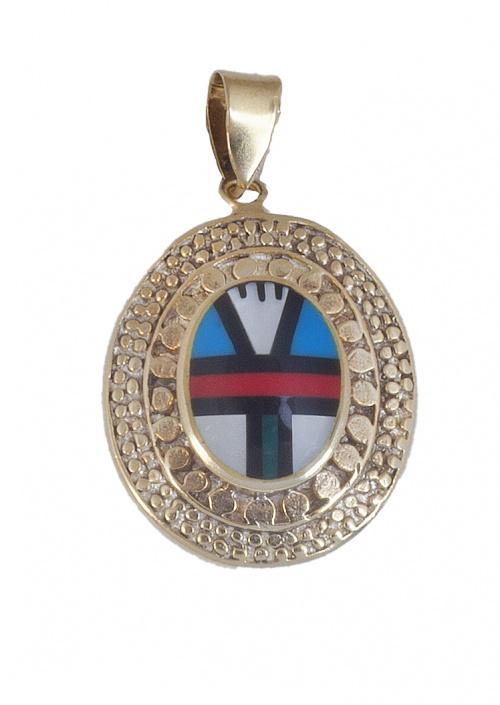 Colgante oval con centro multicolor geométrico de piedras d