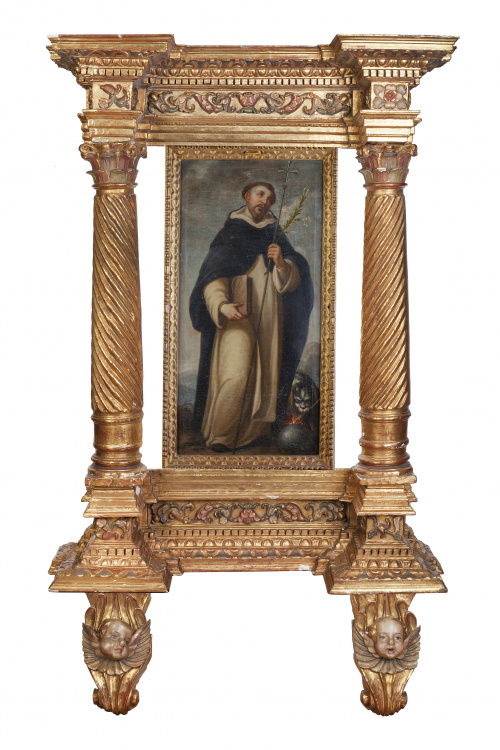 ESCUELA ESPAÑOLA, H. 1800, Retablo arquitectónico en madera