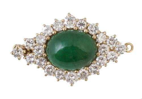 Cierre de collar con cabuchón de esmeralda en marco romboid