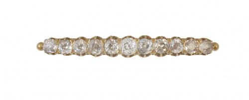 Broche barra S. XIX con once de brillantes de talla antigua