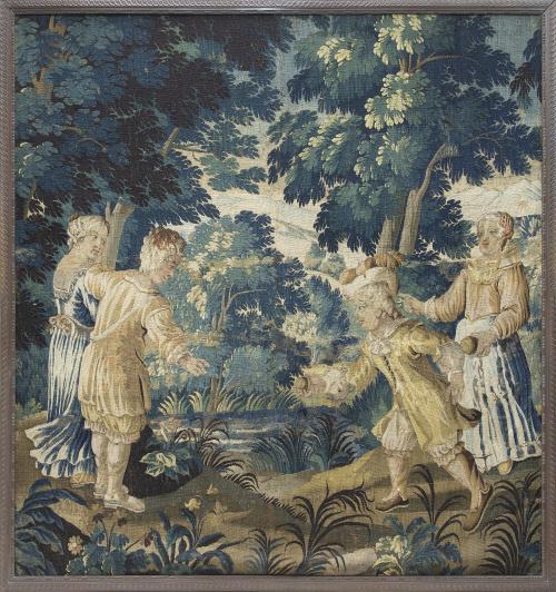 Escena galante en un paisajeTapiz en lana.Trabajo franc