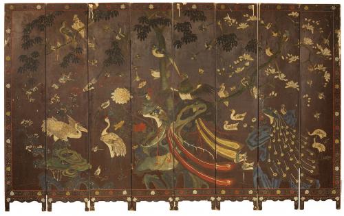 "Biombo de ocho hojas en laca de coromandel.""Mañana de pri"