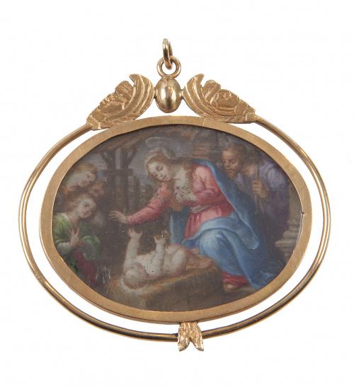 Colgante S.XVIII con miniatura sobre cobre de Virgen y San