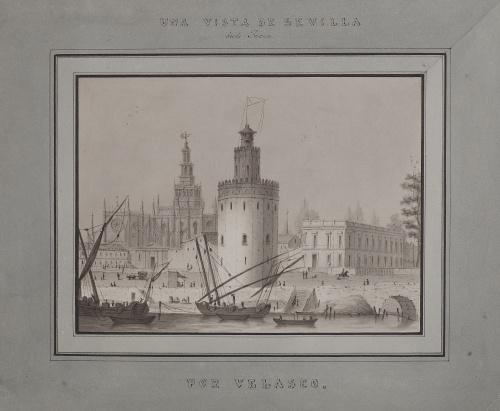 VELASCO (Escuela sevillana, siglo XIX)Vista de Sevilla de