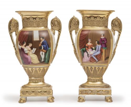 Pareja de jarrones Luis Felipe de porcelana esmaltada y dor