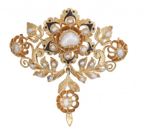 Broche Isabelino con perlas y esmalte negro en diseño de fl