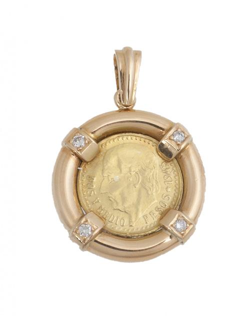 Colgante con moneda de 2,5 pesos mexicanos con marco  cilín