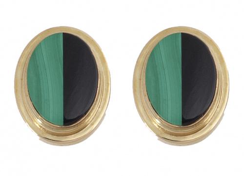 Pendientes ovalados con ónix y maquita en marco escalonado