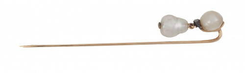 Alfiler de pp. S. XIX con dos perlas barrocas naturales, un