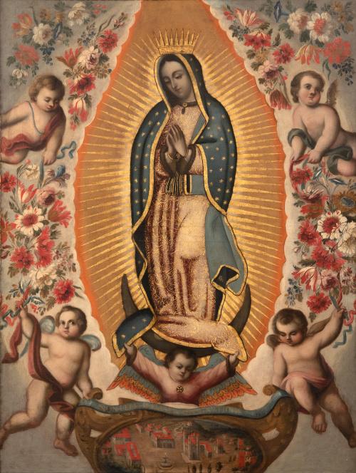 ESCUELA MEXICANA, H. 1700Virgen de Guadalupe con flores y