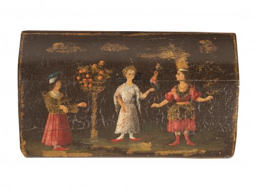 Cofre de barniz con personajes.Viceroyalti New Granada, a