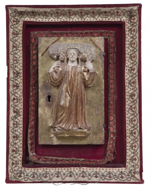 Puerta de Sagrario con Jesús como Buen Pastor.Relieve en