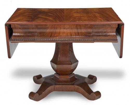 """""""Sofá table"""" de madera de caoba y palma de caoba.Época Bi"""