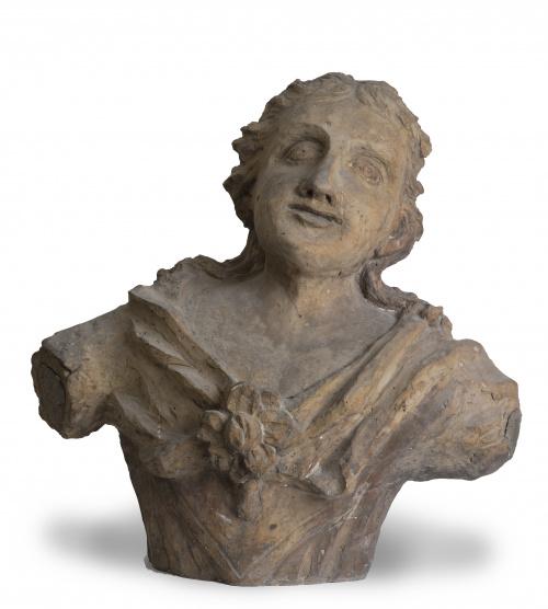 Busto de barro cocido.Posiblemente del escultor valencian