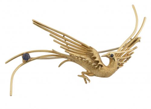 Broche años 50 con diseño de garza en oro mate adornado con