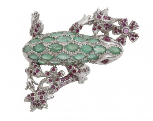 Sortija con gran salamandra de esmeraldas y rubíes