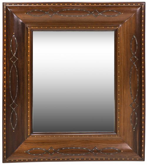 Espejo de madera de palosanto con incrustaciones metálicas,