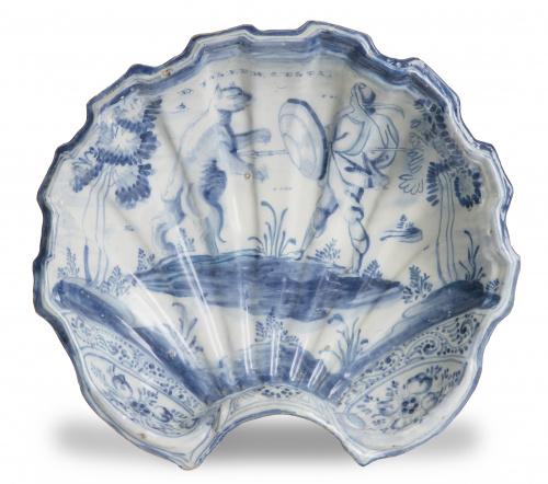 Bacía de cerámica esmaltada en azul de cobalto con leyenda