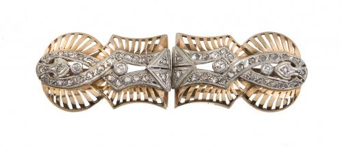 Conjunto de brazalete y broches de brillantes Art-Decó con