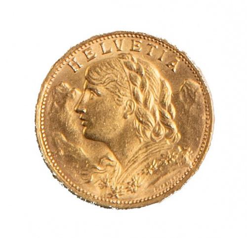 Moneda de 20 Francos suizos de oro.1927