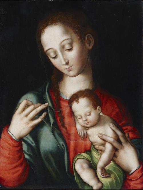 LUIS DE MORALES (Badajoz, 1510/20-1586)Virgen con el Niño