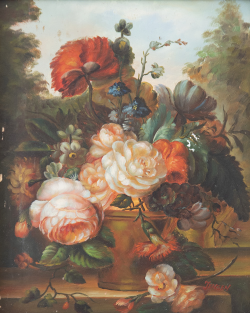 ESCUELA INGLESA, SIGLO XXPareja de bodegón de flores