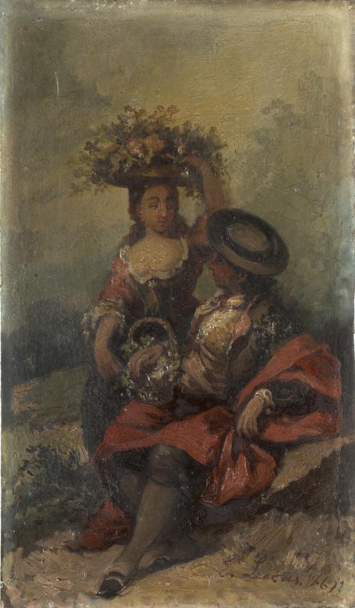 EUGENIO LUCAS VELÁZQUEZ (1817-1870)Pareja de majos sentados