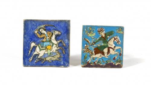 Azulejo Iznik, terracota cocida y esmaltada. Caballero con