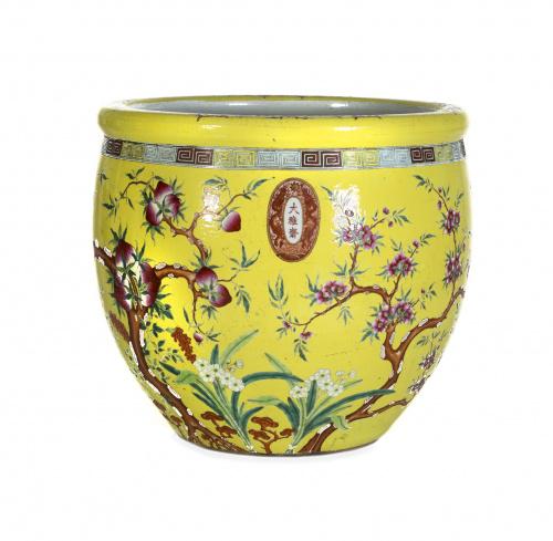 Pecera en porcelana amarilla con decoración de ramas de mel
