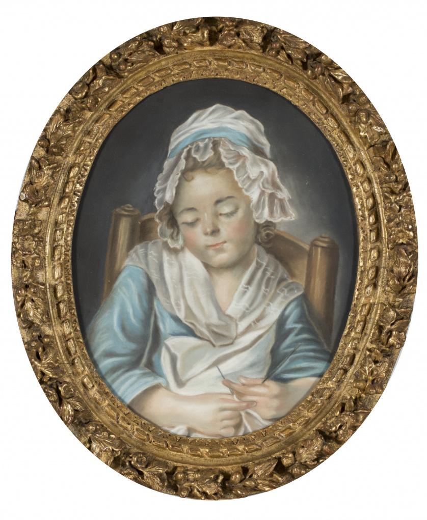 ESCUELA FRANCESA, SIGLO XIXPareja de retratos de niñas