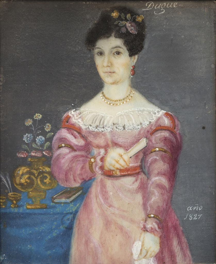 DUGUÉ (Escuela francesa, siglo XIX)Retrato de dama, 1827
