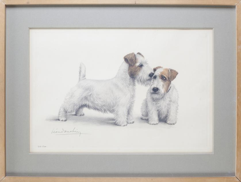 LEÓN DANCHIN (Francia 1887-1939)Pareja de terrier