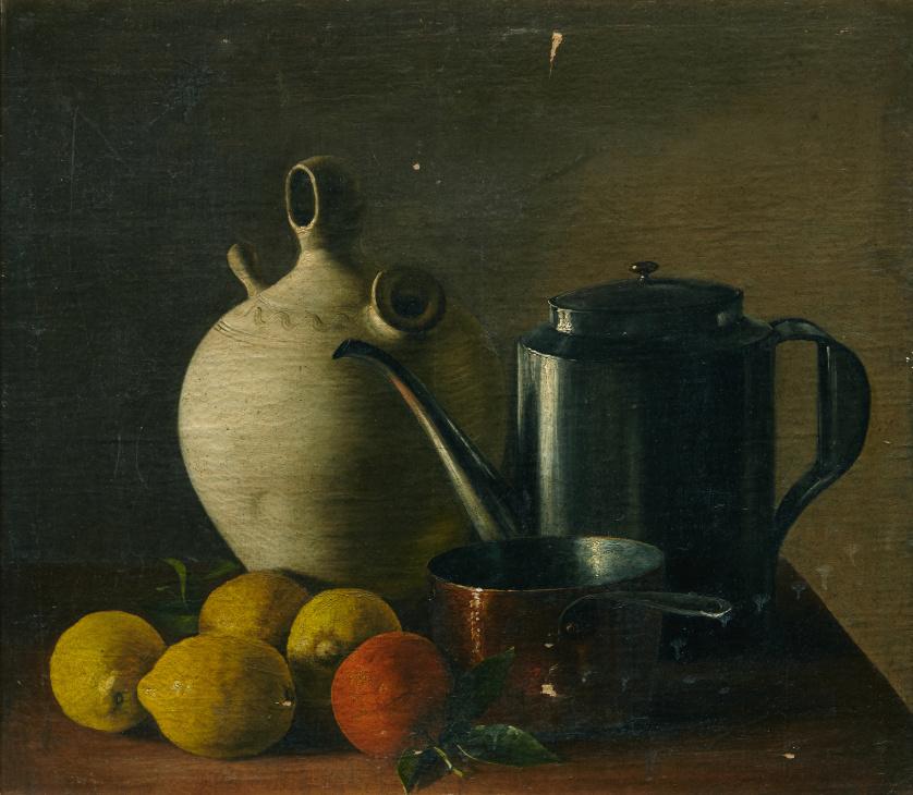 "ESCUELA ESPAÑOLA, SIGLO XIX""Limones, tinaja en cerámica, j"