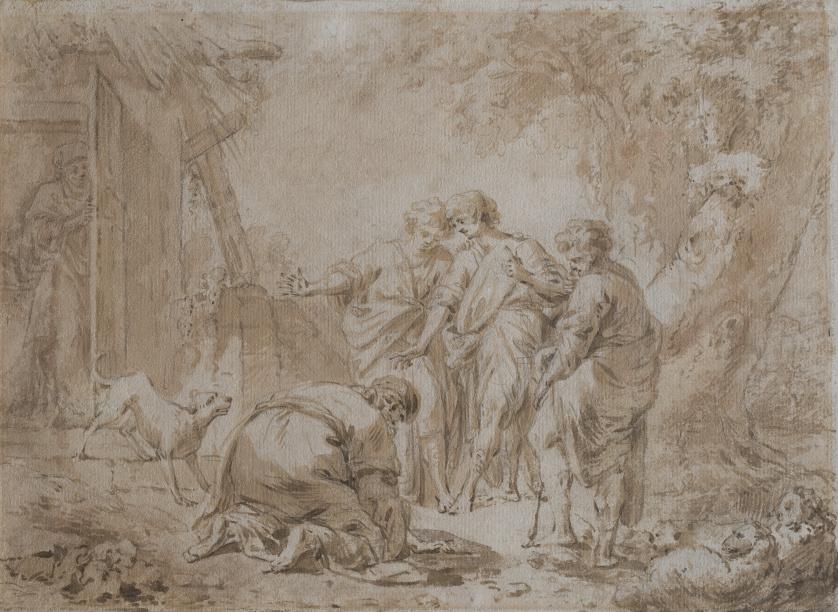 ATRIBUIDO A PERE PAU MUNTANYA (1749-1803)Abrahaam y los tr