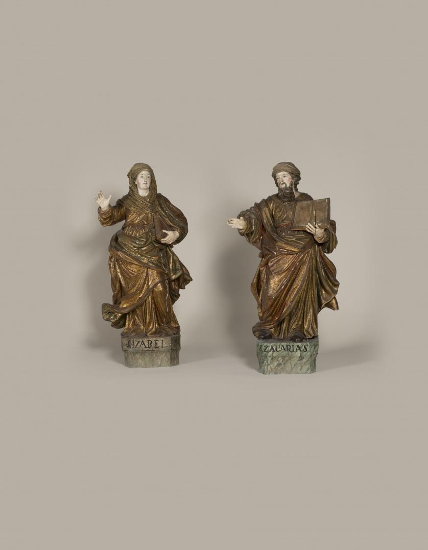 """""""Santa Isabel"""" Escultura en madera tallada, policromada y d"""