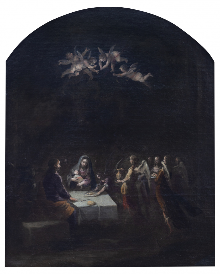 ESCUELA SEVILLANA, SIGLO XVIISagrada Familia servida por l