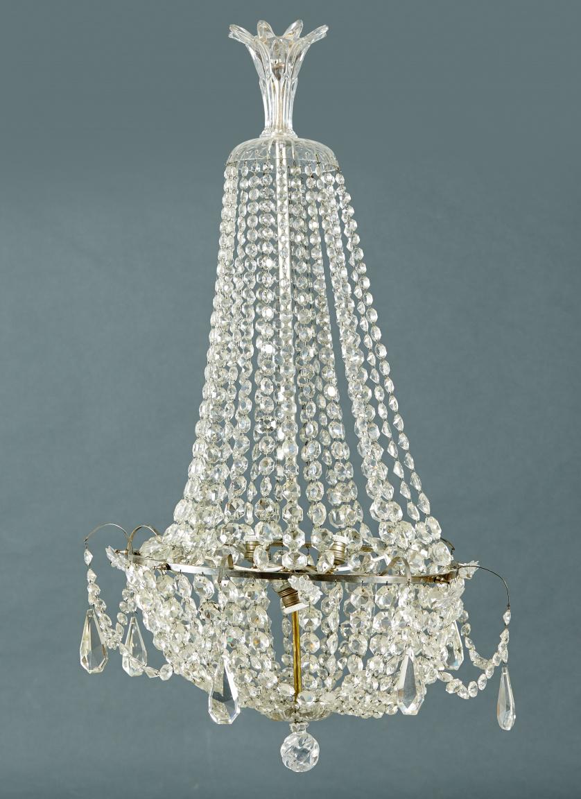 Lámpara de estilo Carlos IV de cristal  facetado y pandeloc